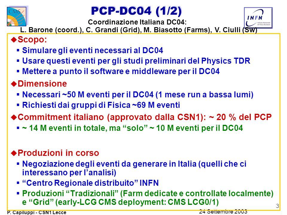 3 P. Capiluppi - CSN1 Lecce 24 Settembre 2003 PCP-DC04 (1/2) u Scopo:  Simulare gli eventi necessari al DC04  Usare questi eventi per gli studi prel