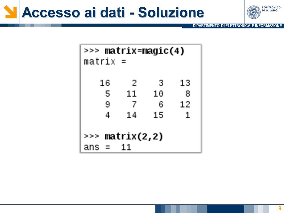 DIPARTIMENTO DI ELETTRONICA E INFORMAZIONE Funzioni interne - Soluzione %Senza MEAN e MEDIAN v=input( Vector ); disp(sum(v)); disp(sum(v)/length(v)); diff=abs(v-(sum(v)/length(v))); [w, p]=min(diff); v(p); 20