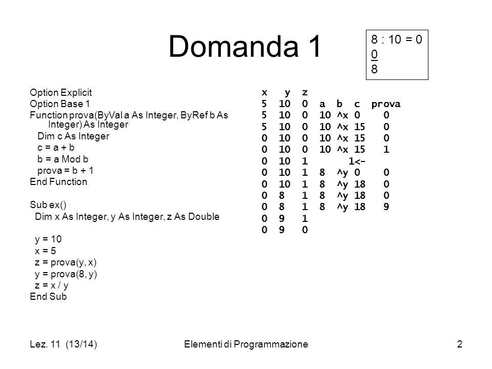 Lez.11 (13/14)Elementi di Programmazione3 Domanda 2 Trasformare usando l'istruzione do While...