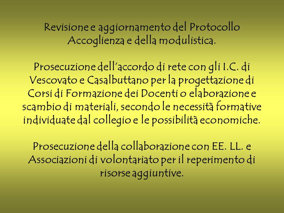 Revisione e aggiornamento del Protocollo Accoglienza e della modulistica.