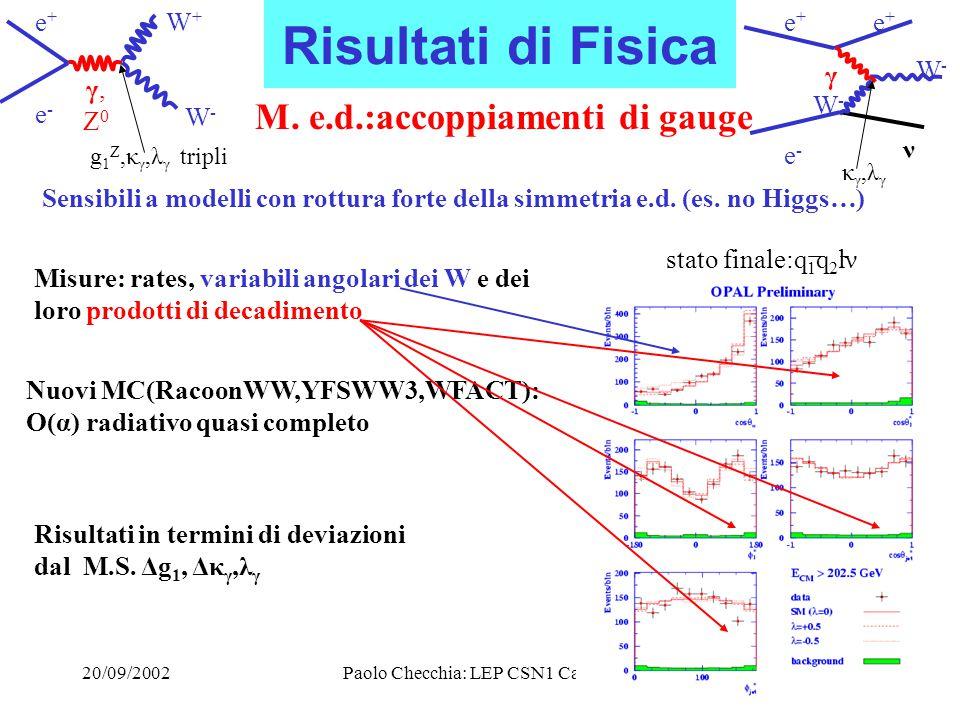 20/09/2002Paolo Checchia: LEP CSN1 Catania11 Risultati di Fisica M.
