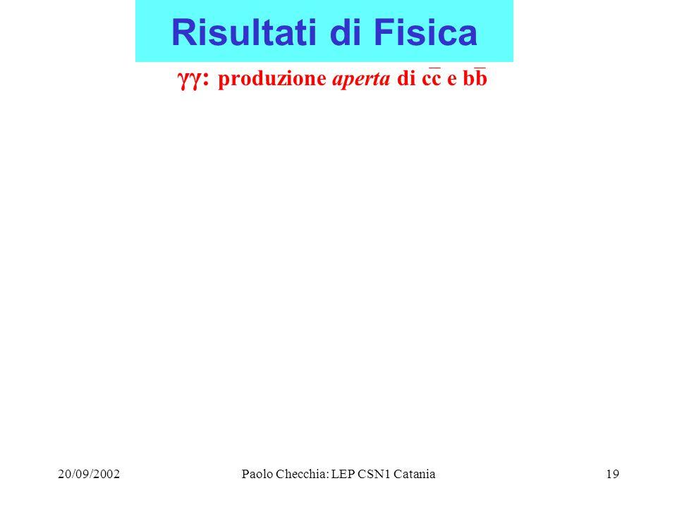 20/09/2002Paolo Checchia: LEP CSN1 Catania19 Risultati di Fisica γγ: produzione aperta di cc e bb