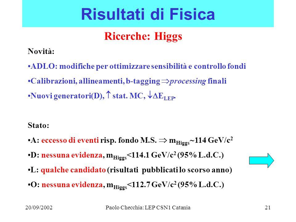 20/09/2002Paolo Checchia: LEP CSN1 Catania21 Risultati di Fisica Ricerche: Higgs Novità: ADLO: modifiche per ottimizzare sensibilità e controllo fondi Calibrazioni, allineamenti, b-tagging  processing finali Nuovi generatori(D),  stat.