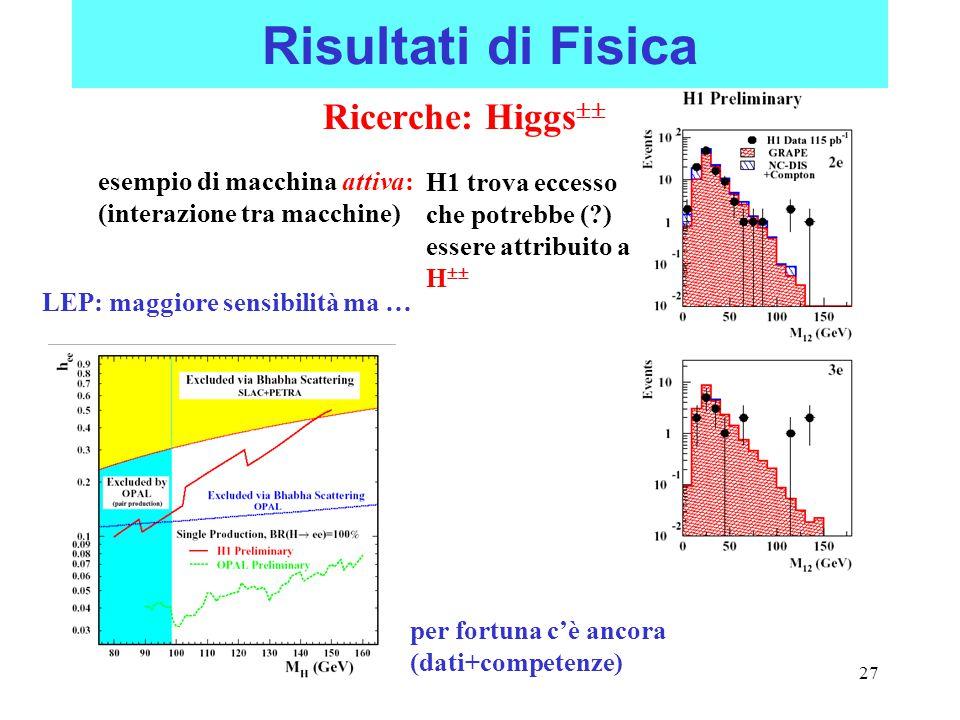 27 Risultati di Fisica Ricerche: Higgs  esempio di macchina attiva: (interazione tra macchine) H1 trova eccesso che potrebbe (?) essere attribuito a H  LEP: maggiore sensibilità ma … per fortuna c'è ancora (dati+competenze)