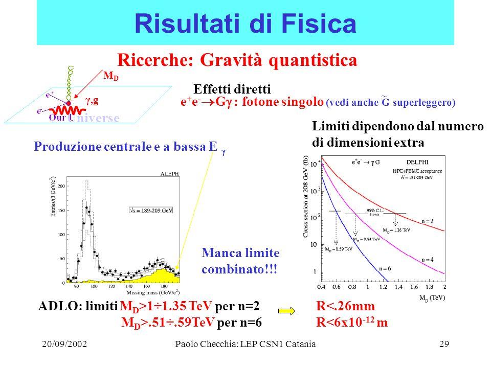 20/09/2002Paolo Checchia: LEP CSN1 Catania29 Risultati di Fisica Ricerche: Gravità quantistica Universe γ,g MDMD Effetti diretti e + e -  G  : fotone singolo (vedi anche G superleggero) Produzione centrale e a bassa E  ADLO: limiti M D >1÷1.35 TeV per n=2 M D >.51÷.59TeV per n=6 Limiti dipendono dal numero di dimensioni extra R<.26mm R<6x10 -12 m Manca limite combinato!!.