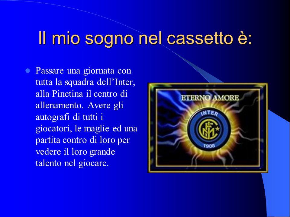 Il mio sogno nel cassetto è: Passare una giornata con tutta la squadra dell'Inter, alla Pinetina il centro di allenamento. Avere gli autografi di tutt