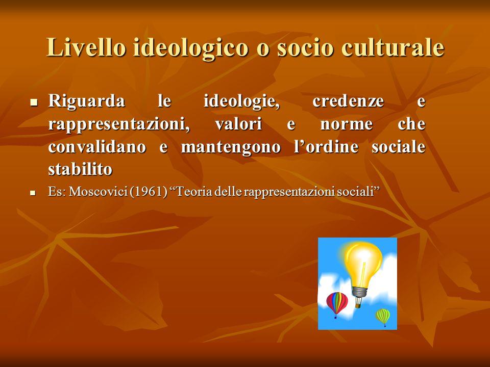 Livello ideologico o socio culturale Riguarda le ideologie, credenze e rappresentazioni, valori e norme che convalidano e mantengono l'ordine sociale