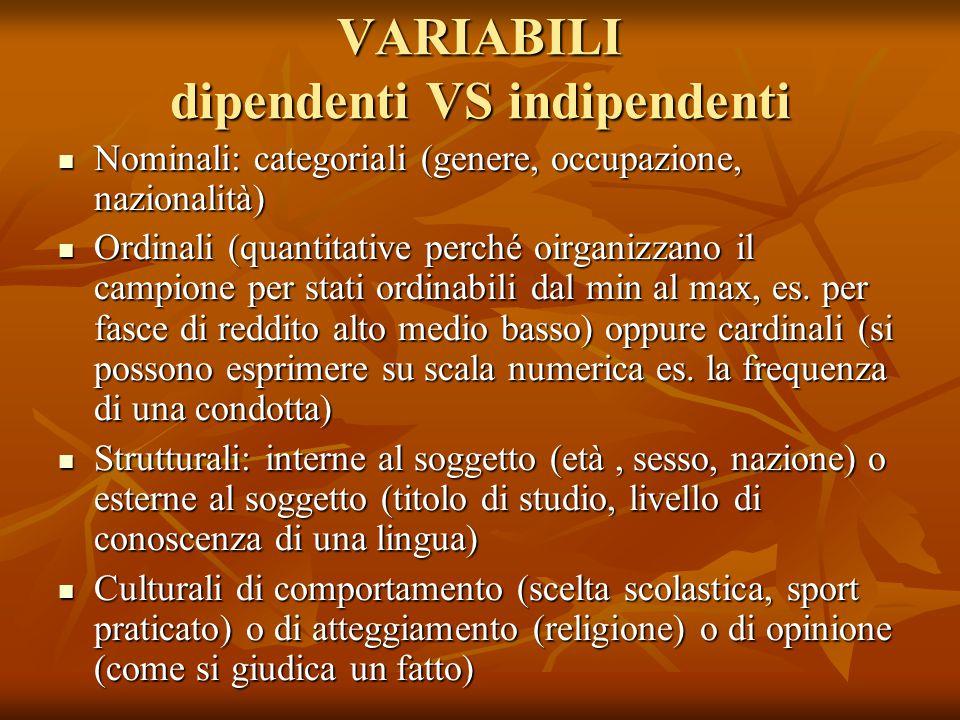 VARIABILI dipendenti VS indipendenti Nominali: categoriali (genere, occupazione, nazionalità) Nominali: categoriali (genere, occupazione, nazionalità)