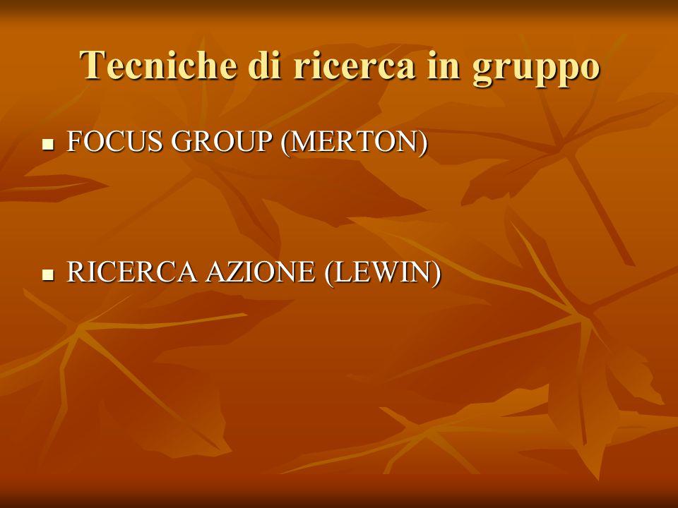 Tecniche di ricerca in gruppo FOCUS GROUP (MERTON) FOCUS GROUP (MERTON) RICERCA AZIONE (LEWIN) RICERCA AZIONE (LEWIN)