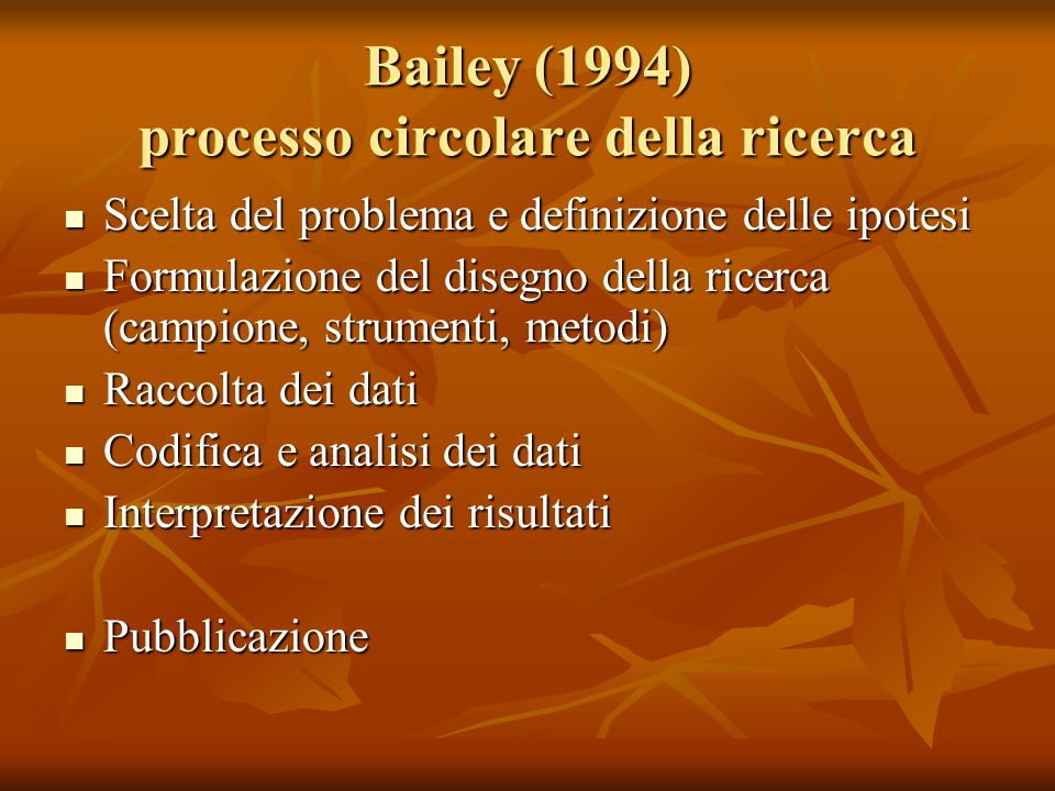 Bailey (1994) processo circolare della ricerca Scelta del problema e definizione delle ipotesi Scelta del problema e definizione delle ipotesi Formula