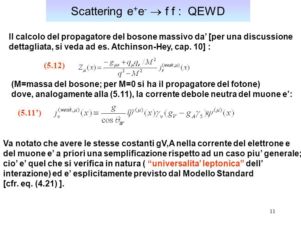 11 Scattering e + e -  f f : QEWD Il calcolo del propagatore del bosone massivo da' [per una discussione dettagliata, si veda ad es. Atchinson-Hey, c