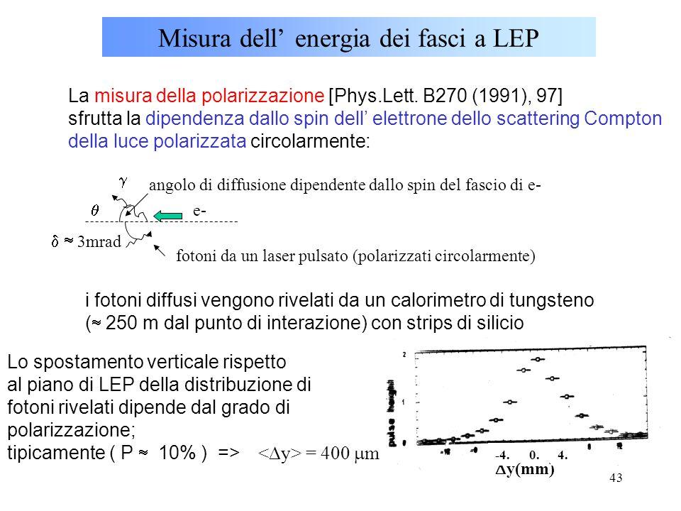 43 Misura dell' energia dei fasci a LEP La misura della polarizzazione [Phys.Lett. B270 (1991), 97] sfrutta la dipendenza dallo spin dell' elettrone d