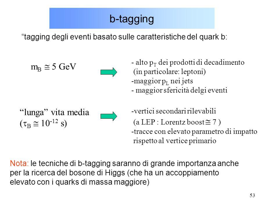 """53 b-tagging """"tagging degli eventi basato sulle caratteristiche del quark b: - alto p T dei prodotti di decadimento (in particolare: leptoni) -maggior"""