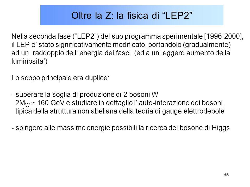 """66 Oltre la Z: la fisica di """"LEP2"""" Nella seconda fase (""""LEP2"""") del suo programma sperimentale [1996-2000], il LEP e' stato significativamente modifica"""
