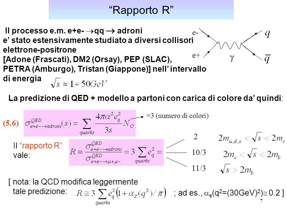 8 Rapporto R Va sottolineato che in assenza del colore dei quarks (N C =1) la predizione per R sarebbe ben lontana dai risultati sperimentali.