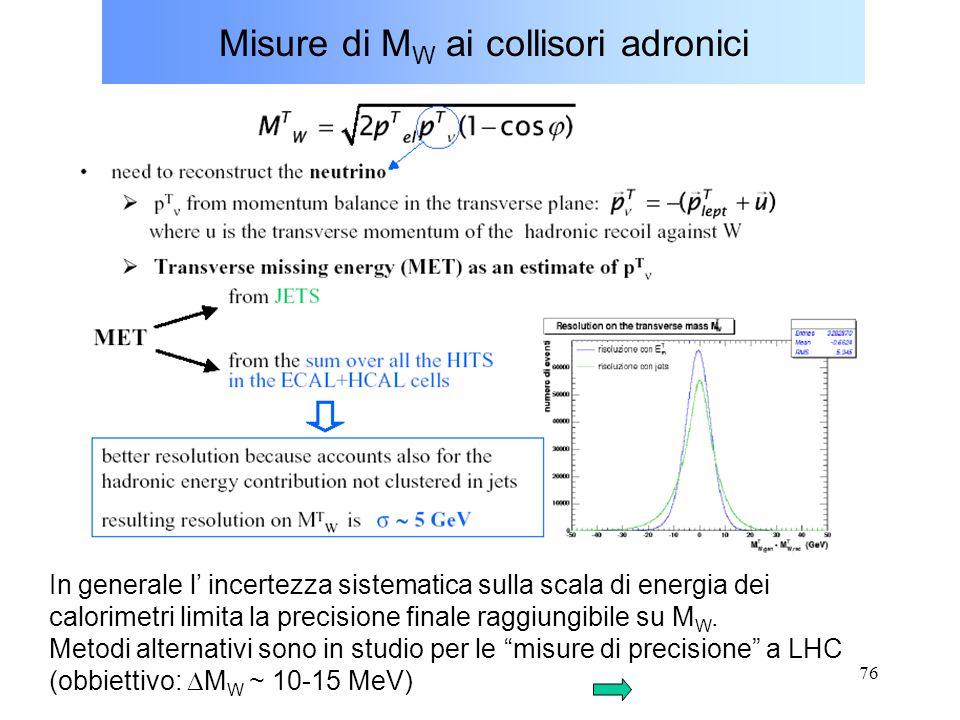 76 Misure di M W ai collisori adronici In generale l' incertezza sistematica sulla scala di energia dei calorimetri limita la precisione finale raggiu