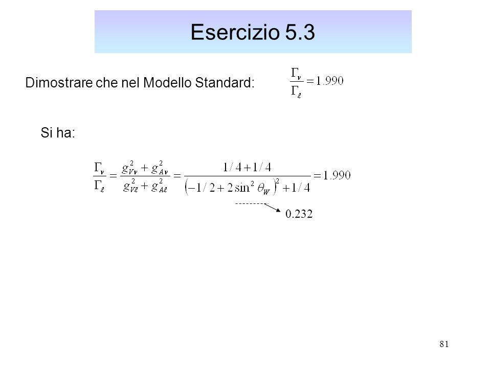 81 Esercizio 5.3 Dimostrare che nel Modello Standard: 0.232 Si ha: