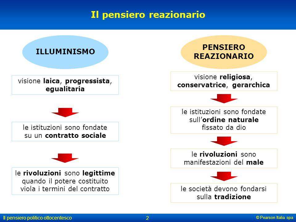© Pearson Italia spa Il pensiero politico ottocentesco 2 Il pensiero reazionario ILLUMINISMO PENSIERO REAZIONARIO visione religiosa, conservatrice, ge