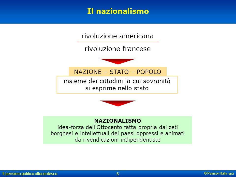 © Pearson Italia spa Il pensiero politico ottocentesco 5 Il nazionalismo rivoluzione americana NAZIONE – STATO – POPOLO rivoluzione francese NAZIONALI