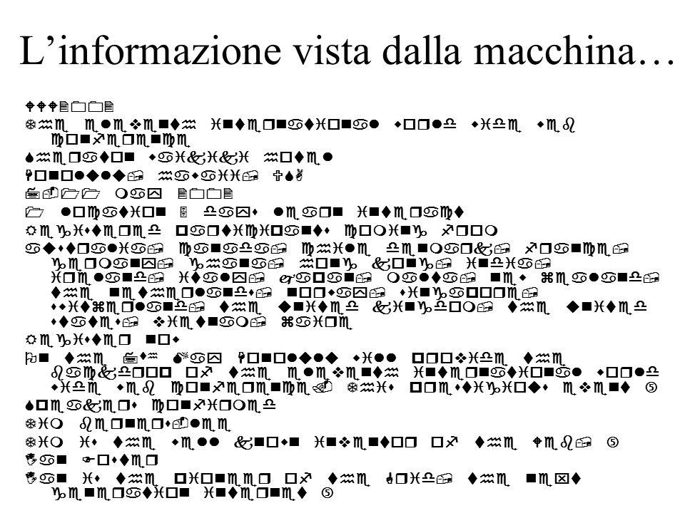 L'informazione vista dalla macchina…                          