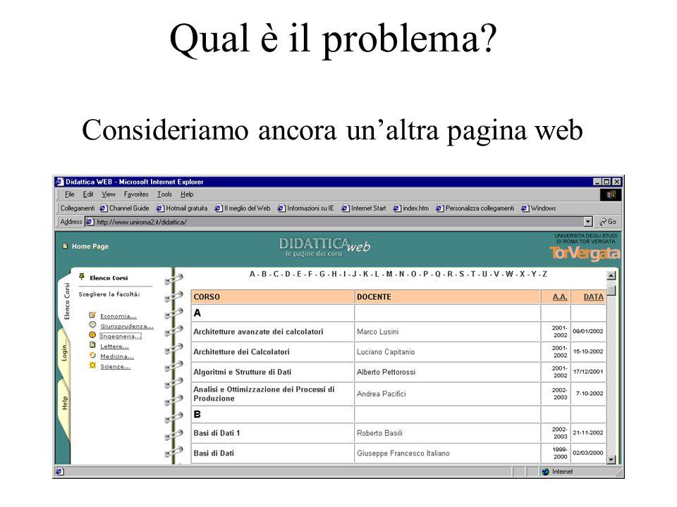 Qual è il problema Consideriamo ancora un'altra pagina web