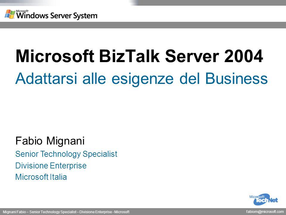 Milano, 18 Marzo 2004 Mignani Fabio – Senior Technology Specialist – Divisione Enterprise - Microsoft fabiom@microsoft.com Adattarsi alle esigenze del Business Il Settore Sanitario ed HL7 Impatto di XML sull'utilizzo di HL7 XML e' un linguaggi di codifica HL7 e' un modello per la descrizione del contenuto dei messaggi La codifica in XML della versione 2.x di HL& e' in corso La versione 3 di HL7 prevede XML come meccanismo primario di codifica HTTP/XML HL7 HIPAA X12N EDI Clienti/Pazienti Laboratori / Amministrazione Enti Assicurativi
