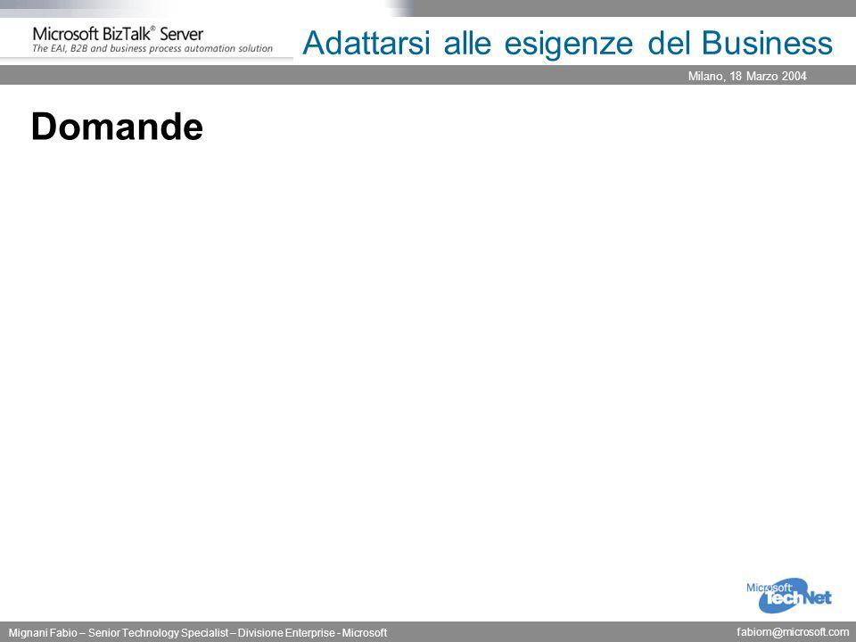 Milano, 18 Marzo 2004 Mignani Fabio – Senior Technology Specialist – Divisione Enterprise - Microsoft fabiom@microsoft.com Adattarsi alle esigenze del Business Domande