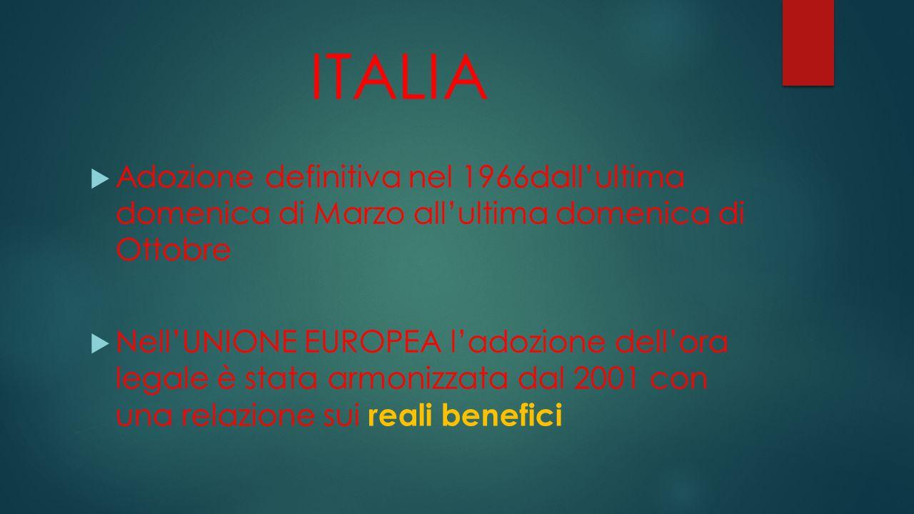 ITALIA  Adozione definitiva nel 1966dall'ultima domenica di Marzo all'ultima domenica di Ottobre  Nell'UNIONE EUROPEA l'adozione dell'ora legale è stata armonizzata dal 2001 con una relazione sui reali benefici