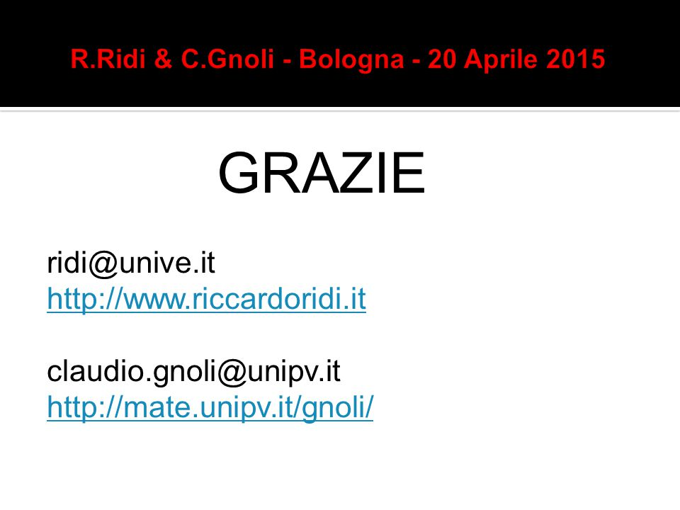 GRAZIE ridi@unive.it http://www.riccardoridi.it claudio.gnoli@unipv.it http://mate.unipv.it/gnoli/