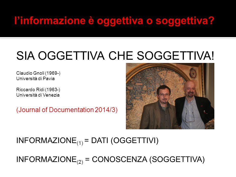 SIA OGGETTIVA CHE SOGGETTIVA! Claudio Gnoli (1969-) Università di Pavia Riccardo Ridi (1963-) Università di Venezia (Journal of Documentation 2014/3)