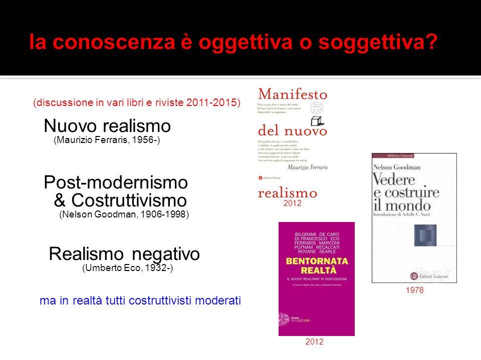 (discussione in vari libri e riviste 2011-2015) Nuovo realismo (Maurizio Ferraris, 1956-) Post-modernismo & Costruttivismo (Nelson Goodman, 1906-1998)