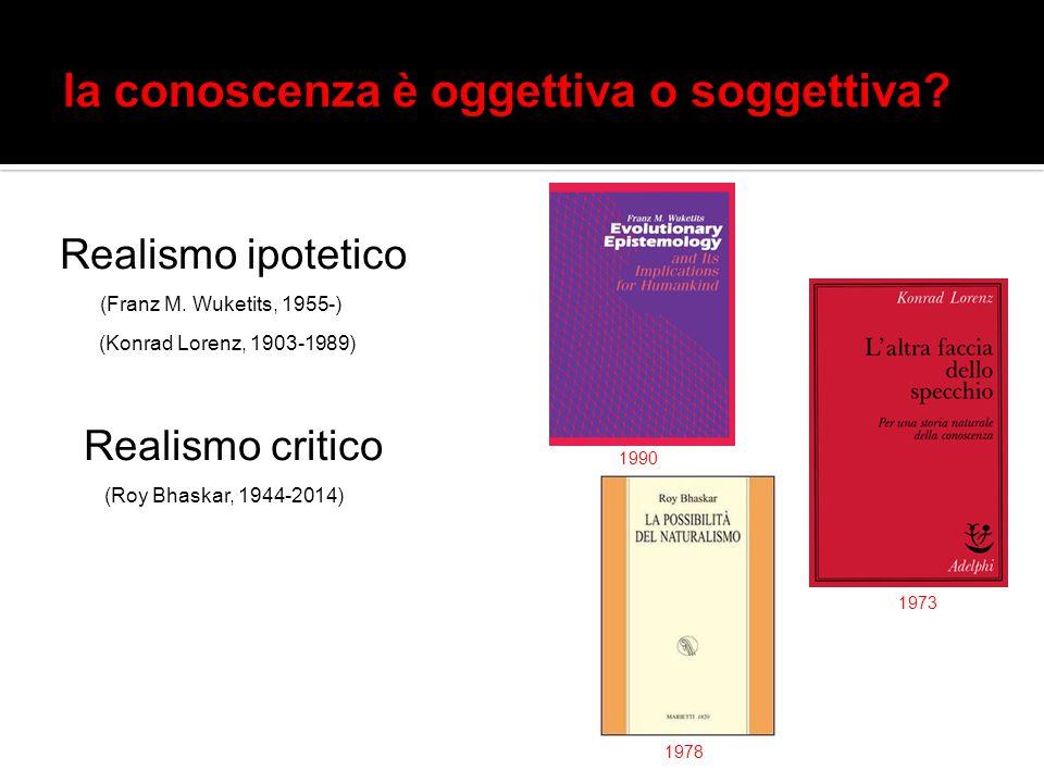 Realismo ipotetico (Franz M. Wuketits, 1955-) (Konrad Lorenz, 1903-1989) Realismo critico (Roy Bhaskar, 1944-2014) 1990 1973 1978