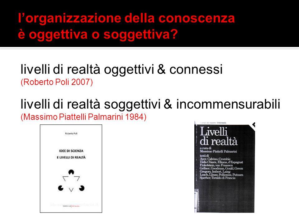 livelli di realtà oggettivi & connessi (Roberto Poli 2007) livelli di realtà soggettivi & incommensurabili (Massimo Piattelli Palmarini 1984)