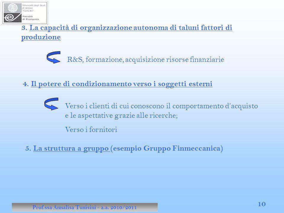 Prof.ssa Annalisa Tunisini - a.a. 2010/2011 10 3. La capacità di organizzazione autonoma di taluni fattori di produzione R&S, formazione, acquisizione