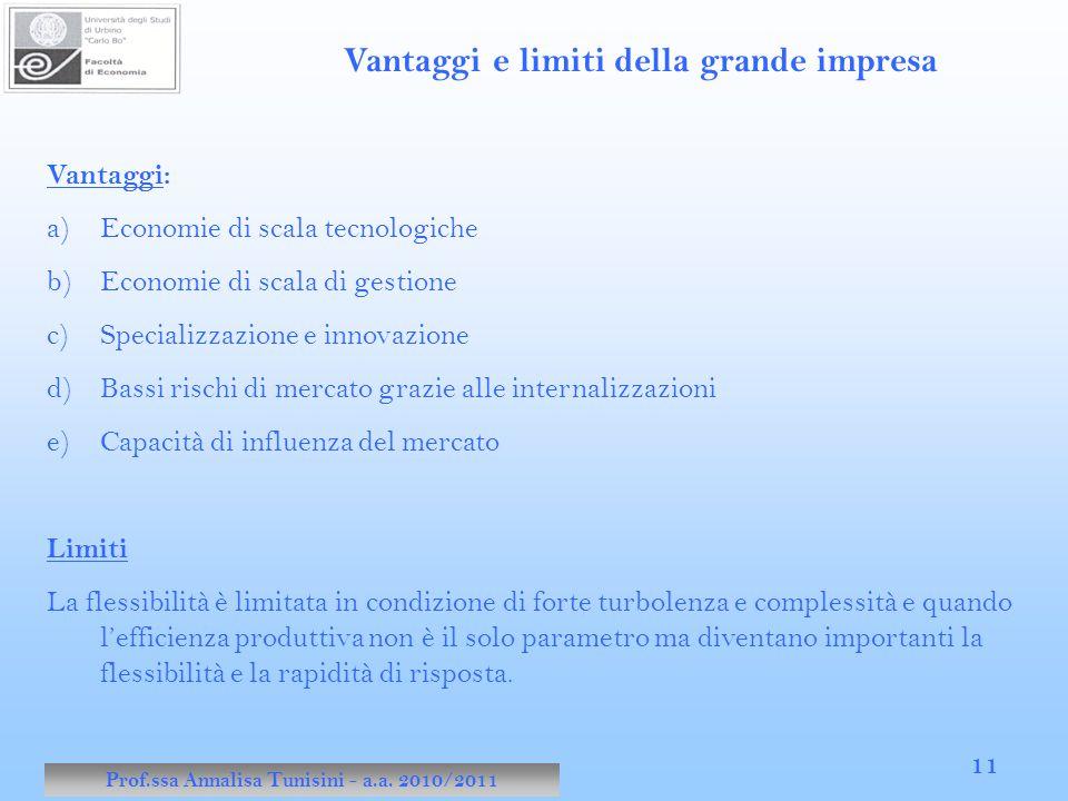 Prof.ssa Annalisa Tunisini - a.a. 2010/2011 11 Vantaggi e limiti della grande impresa Vantaggi: a)Economie di scala tecnologiche b)Economie di scala d