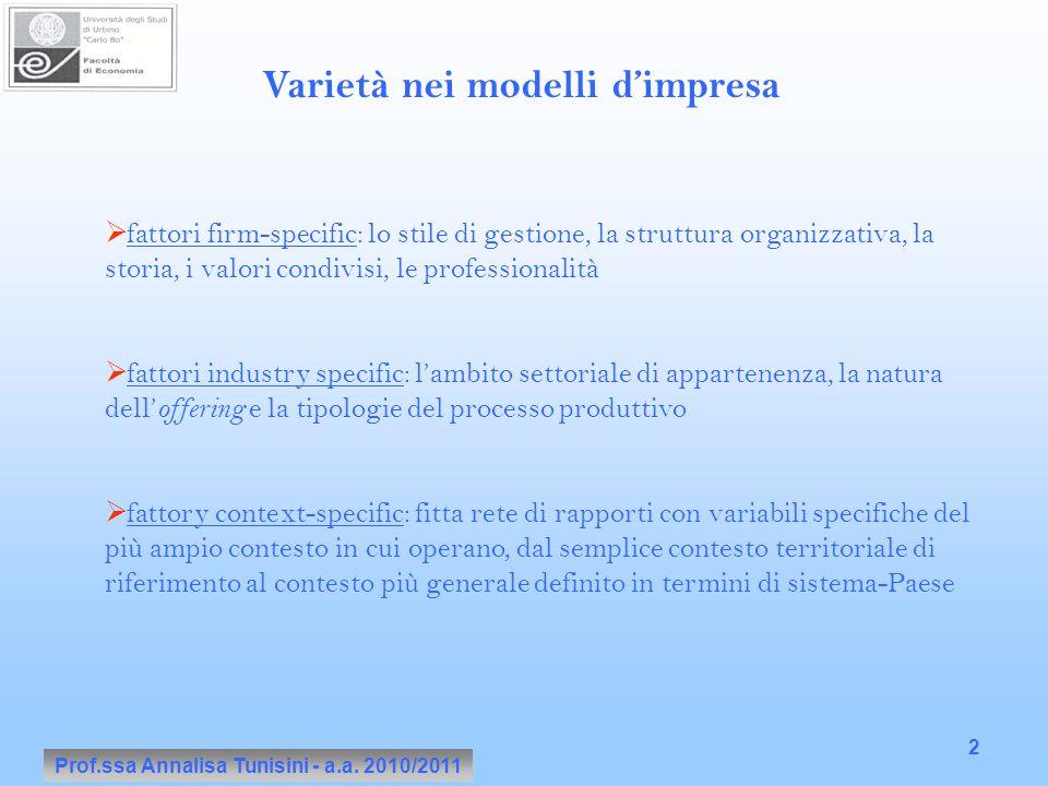 Prof.ssa Annalisa Tunisini - a.a. 2010/2011 2 Varietà nei modelli d'impresa  fattori firm-specific: lo stile di gestione, la struttura organizzativa,
