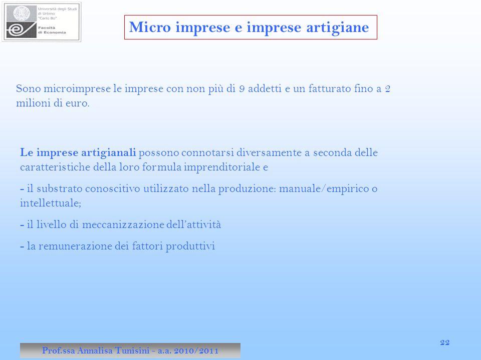 Prof.ssa Annalisa Tunisini - a.a. 2010/2011 22 Micro imprese e imprese artigiane Sono microimprese le imprese con non più di 9 addetti e un fatturato