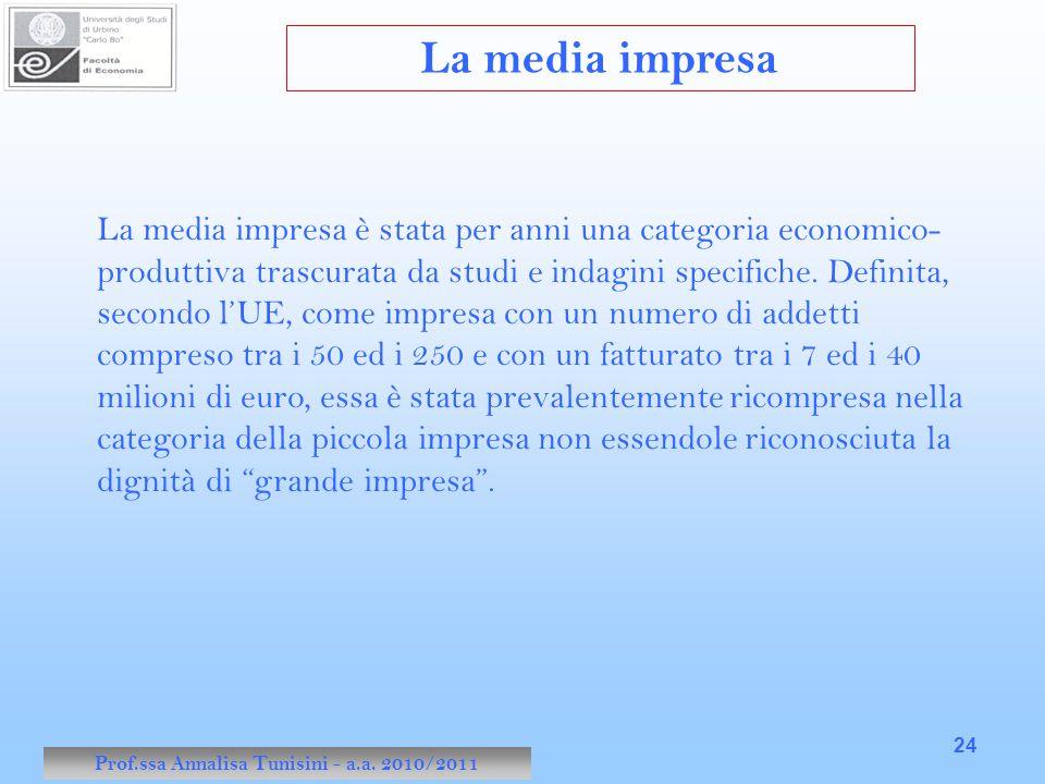 Prof.ssa Annalisa Tunisini - a.a. 2010/2011 24 La media impresa è stata per anni una categoria economico- produttiva trascurata da studi e indagini sp