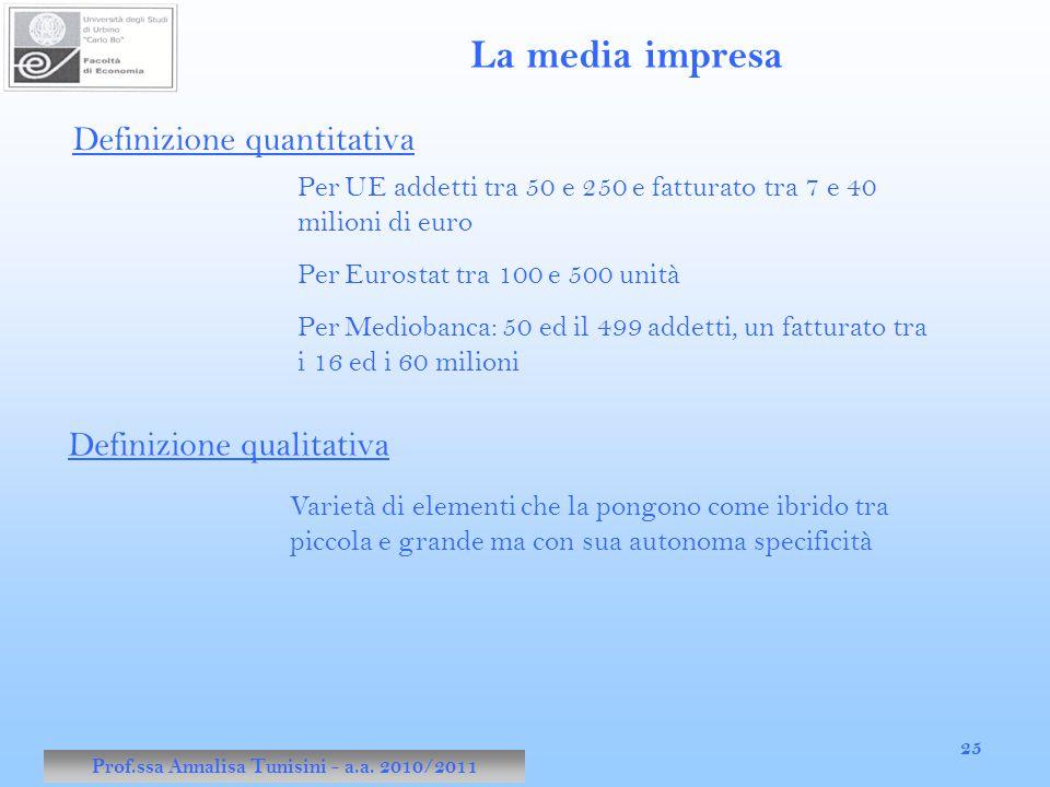 Prof.ssa Annalisa Tunisini - a.a. 2010/2011 25 La media impresa Definizione quantitativa Per UE addetti tra 50 e 250 e fatturato tra 7 e 40 milioni di
