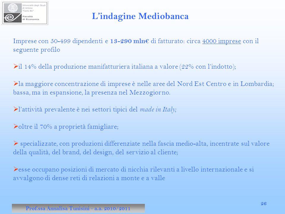 Prof.ssa Annalisa Tunisini - a.a. 2010/2011 26 Imprese con 50-499 dipendenti e 13-290 mln€ di fatturato: circa 4000 imprese con il seguente profilo 