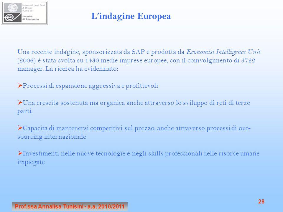 Prof.ssa Annalisa Tunisini - a.a. 2010/2011 28 Una recente indagine, sponsorizzata da SAP e prodotta da Economist Intelligence Unit (2006) è stata svo