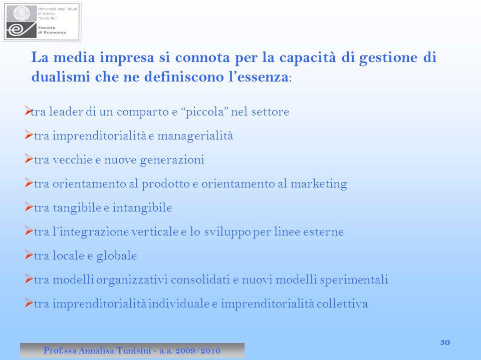 Prof.ssa Annalisa Tunisini - a.a. 2010/2011 30 Prof.ssa Annalisa Tunisini - a.a. 2009/2010 30 La media impresa si connota per la capacità di gestione