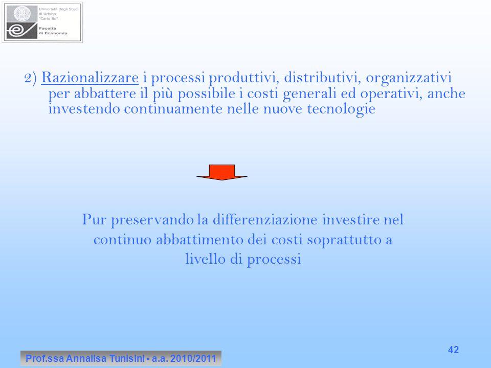Prof.ssa Annalisa Tunisini - a.a. 2010/2011 42 2) Razionalizzare i processi produttivi, distributivi, organizzativi per abbattere il più possibile i c