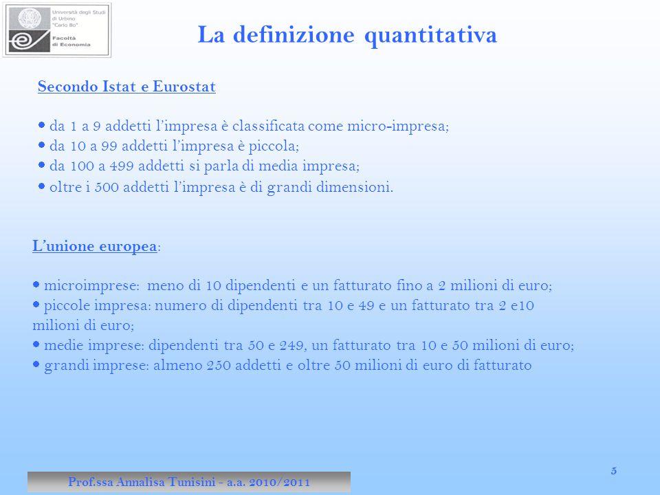 Prof.ssa Annalisa Tunisini - a.a. 2010/2011 5 Secondo Istat e Eurostat  da 1 a 9 addetti l'impresa è classificata come micro-impresa;  da 10 a 99 ad