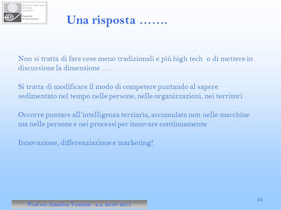 Prof.ssa Annalisa Tunisini - a.a. 2010/2011 53 Una risposta ……. Non si tratta di fare cose meno tradizionali e più high tech o di mettere in discussio