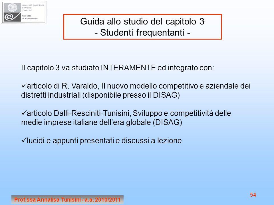 Prof.ssa Annalisa Tunisini - a.a. 2010/2011 54 Guida allo studio del capitolo 3 - Studenti frequentanti - Il capitolo 3 va studiato INTERAMENTE ed int