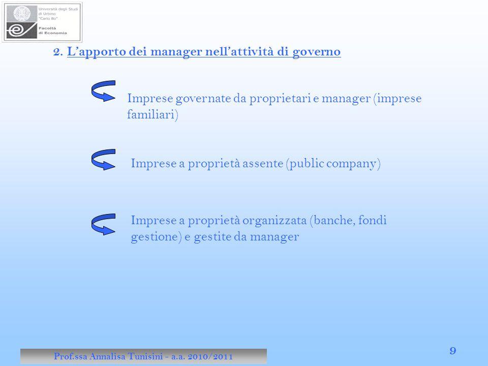 Prof.ssa Annalisa Tunisini - a.a. 2010/2011 9 2. L'apporto dei manager nell'attività di governo Imprese governate da proprietari e manager (imprese fa