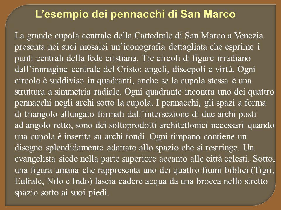 La grande cupola centrale della Cattedrale di San Marco a Venezia presenta nei suoi mosaici un'iconografia dettagliata che esprime i punti centrali de