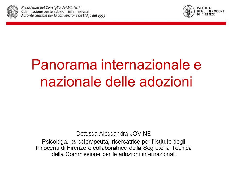 Panorama internazionale e nazionale delle adozioni Dott.ssa Alessandra JOVINE Psicologa, psicoterapeuta, ricercatrice per l'Istituto degli Innocenti di Firenze e collaboratrice della Segreteria Tecnica della Commissione per le adozioni internazionali