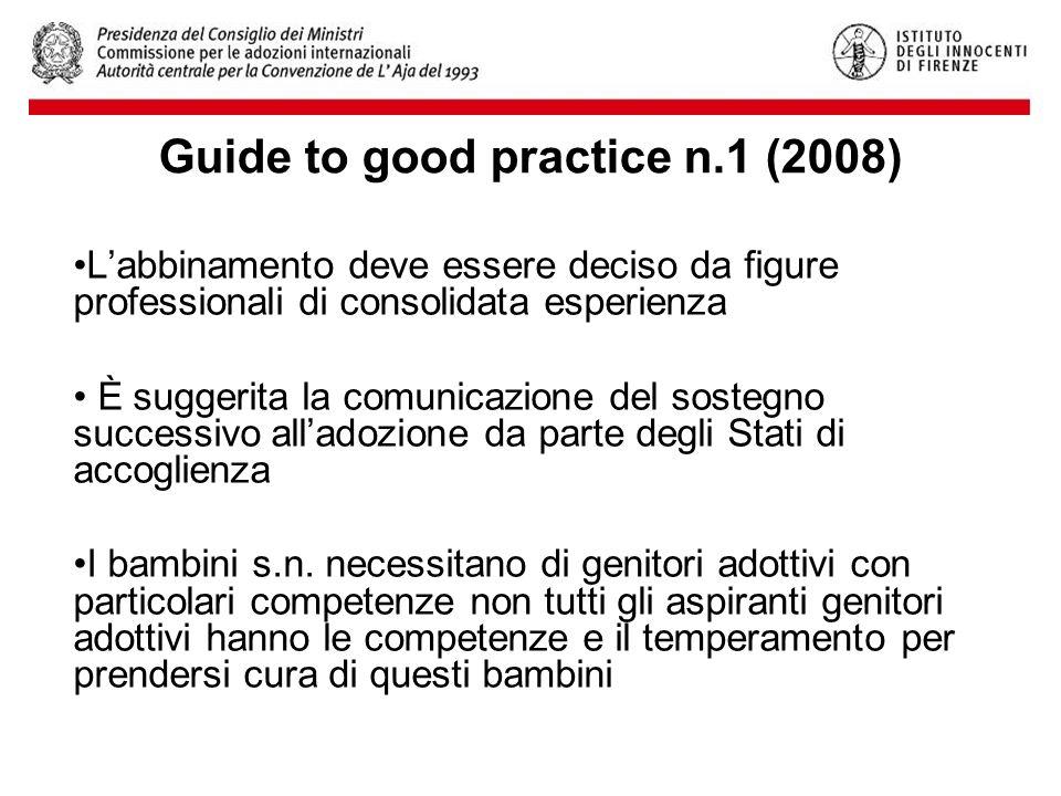 Guide to good practice n.1 (2008) L'abbinamento deve essere deciso da figure professionali di consolidata esperienza È suggerita la comunicazione del sostegno successivo all'adozione da parte degli Stati di accoglienza I bambini s.n.